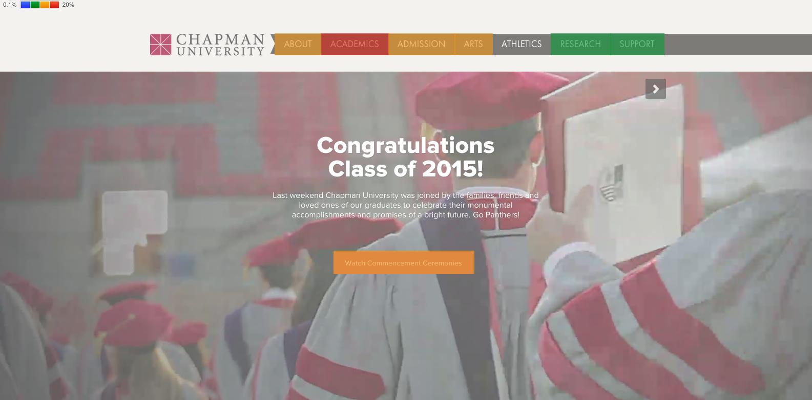 Chapman University homepage with heatmap.