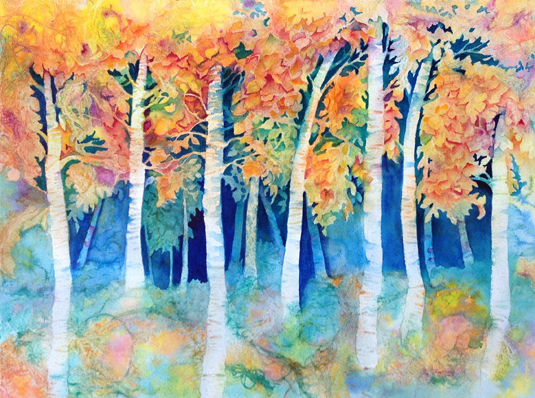Not yet complete, here you see that I am finding more and more trees in this Aspen Grove in Autumn. This painting was started in the Hide-N-Seek Class I taught in Denver earlier in October, 2014. Ask me how you can arrange to have me teach a class in your neck of the woods!