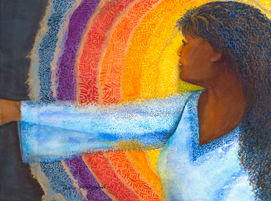 """I added more layers of """"rainbow"""", more dark hair, and gave her skin more highlights & depth before considering her complete. Anuenue Ali`i Wahine (Royal Rainbow Woman in Hawaiian)"""