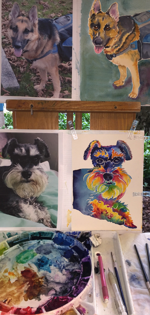 Pet Portraits in progress on my easel (click for larger image)