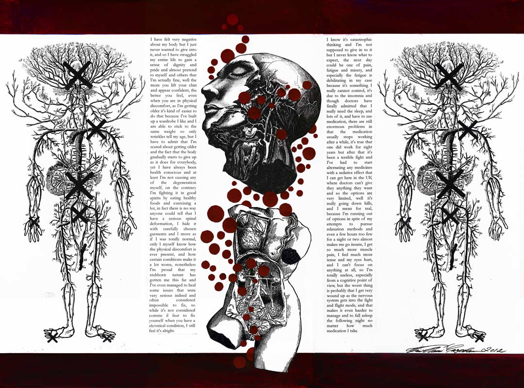 Impaired by X. Miixed media collage with flow of consciousness text. Copyright 2012.