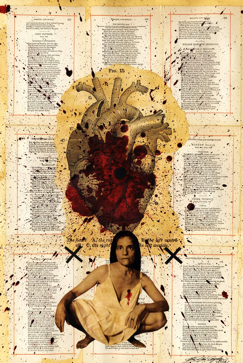 Your Indifference is Breaking My Heart. Mixed media collage with artist's photograph and pages from a 19th C book of moral poetry. Copyright 2012.