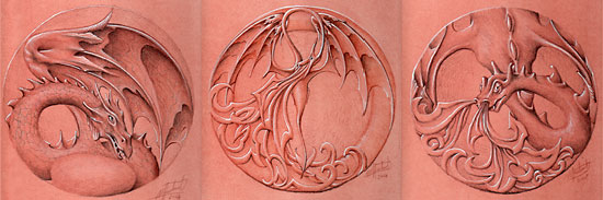 """Three of the twelve dragon drawings for the commissioned """"Dragon Trail """"in Llanidloes  (2007)"""
