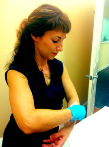 Me demonstrating to some clients how easy sugaring is!