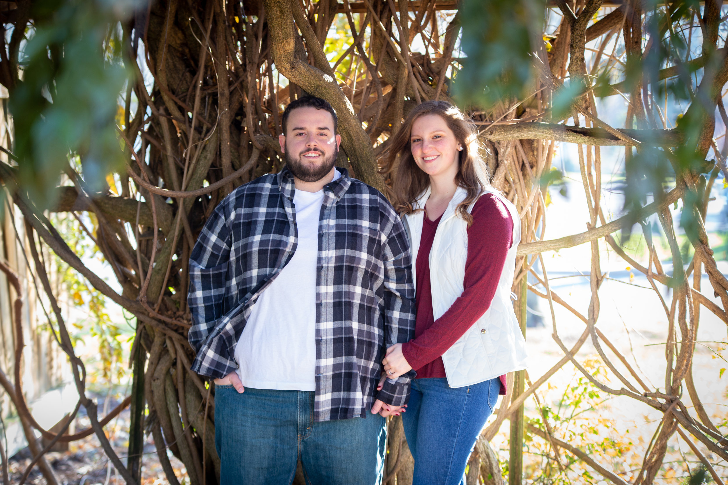 Fall-Vines-gaze-love-couple-shoot-photography-blacksburg-roanoke-love-lover-loving-engaged-wedding-Virginia-Tech-campus-framing-bright