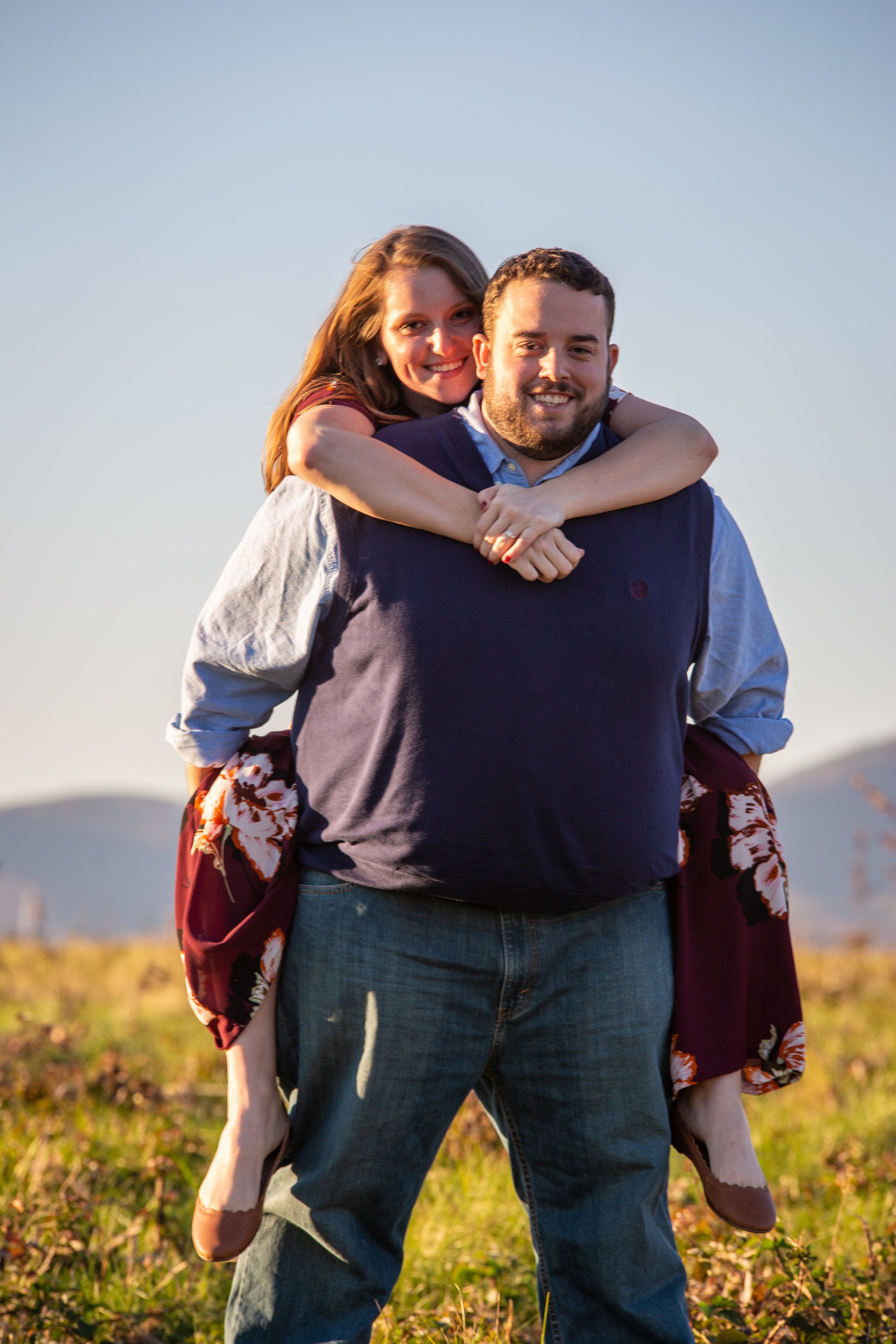 Sunset-Roanoke-shakers-field-flare-airport-love-together-virginia-photography-shoot-together-piggyback