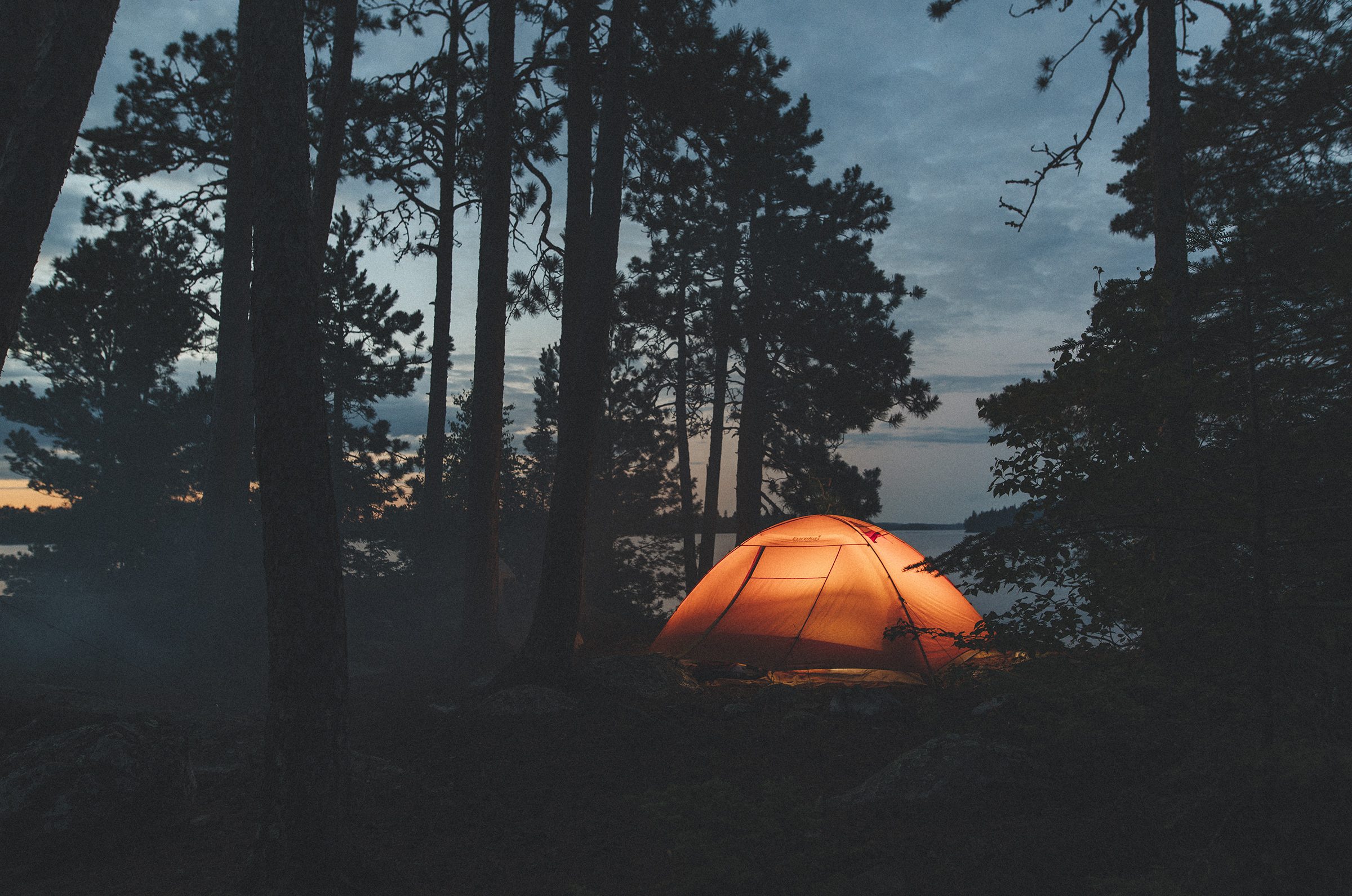 Camping Tent Forrest Woods Lake Orange
