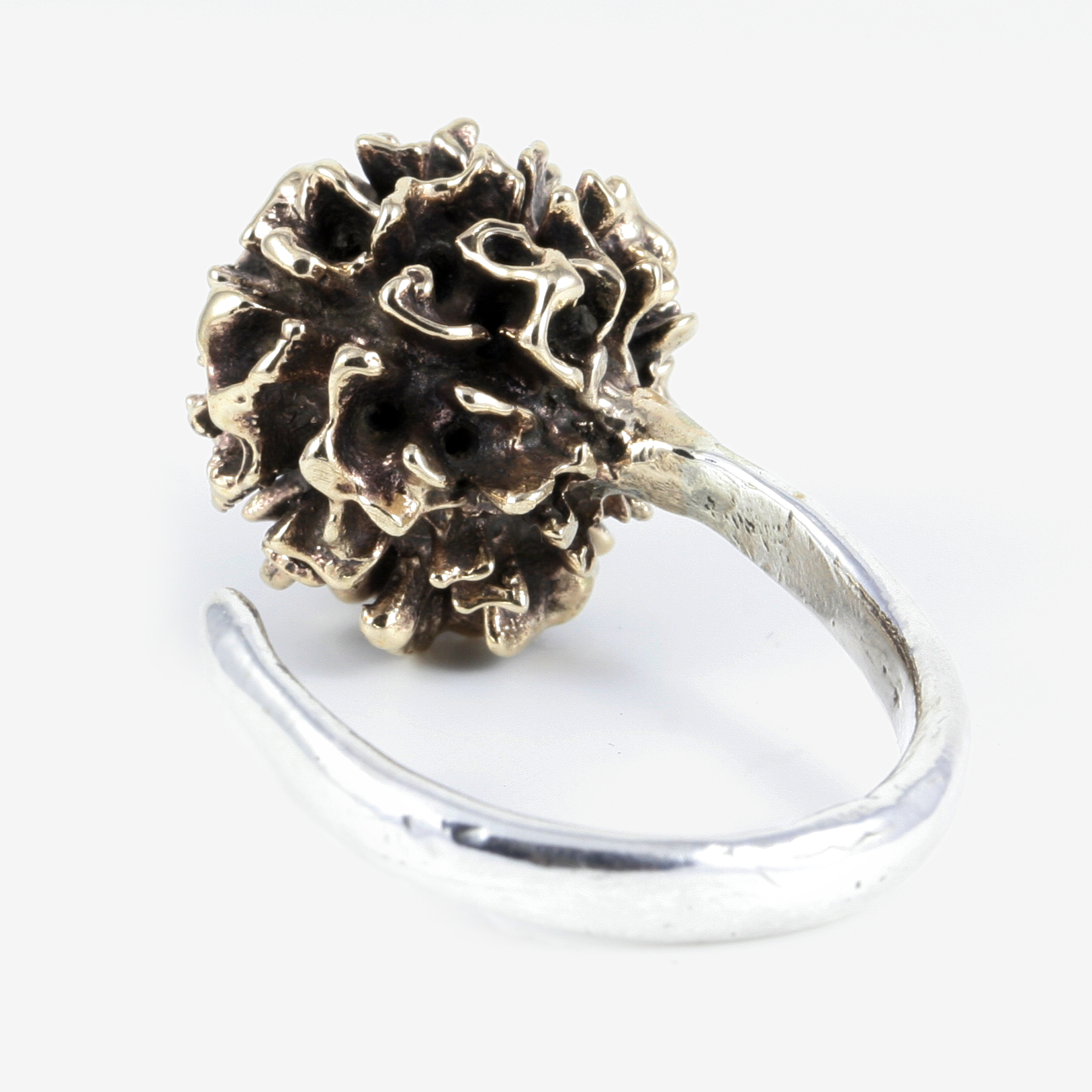 Solid Sterling Silver band with Bronze