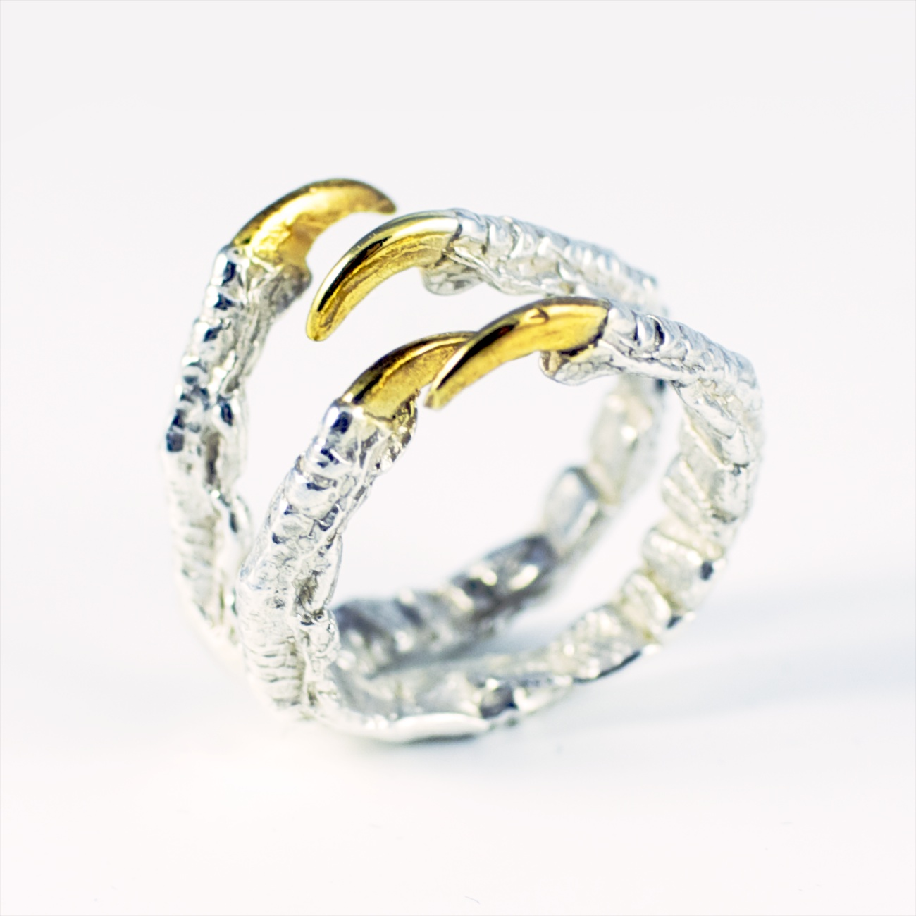 custom 4 claw ring with gold vermeil