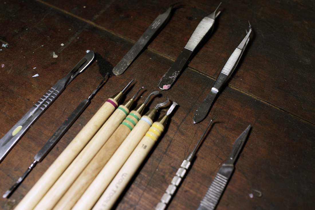 Most of my work starts in wax. These, and my wax pen, are the tools I rely on the most while I form the piece.