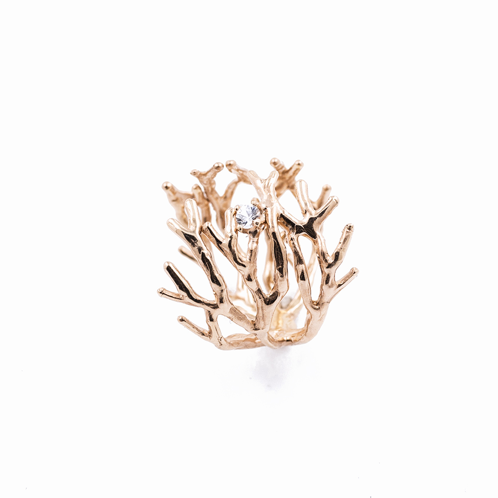 Dendrite Rings in rose gold with diamond, white sapphire, ruby, emerald and black pearl, 2015 to 2016