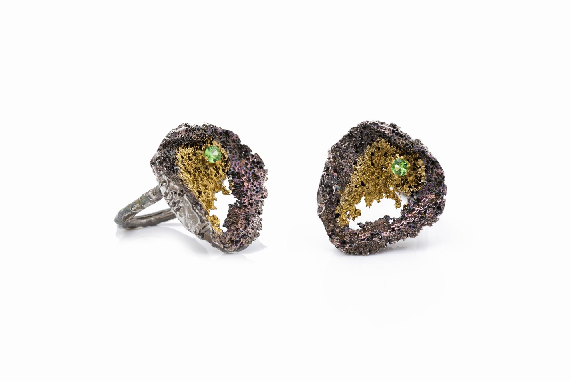 Round Inner Island Ring | Sterling silver, tsavorite, gold vermeil, patina.