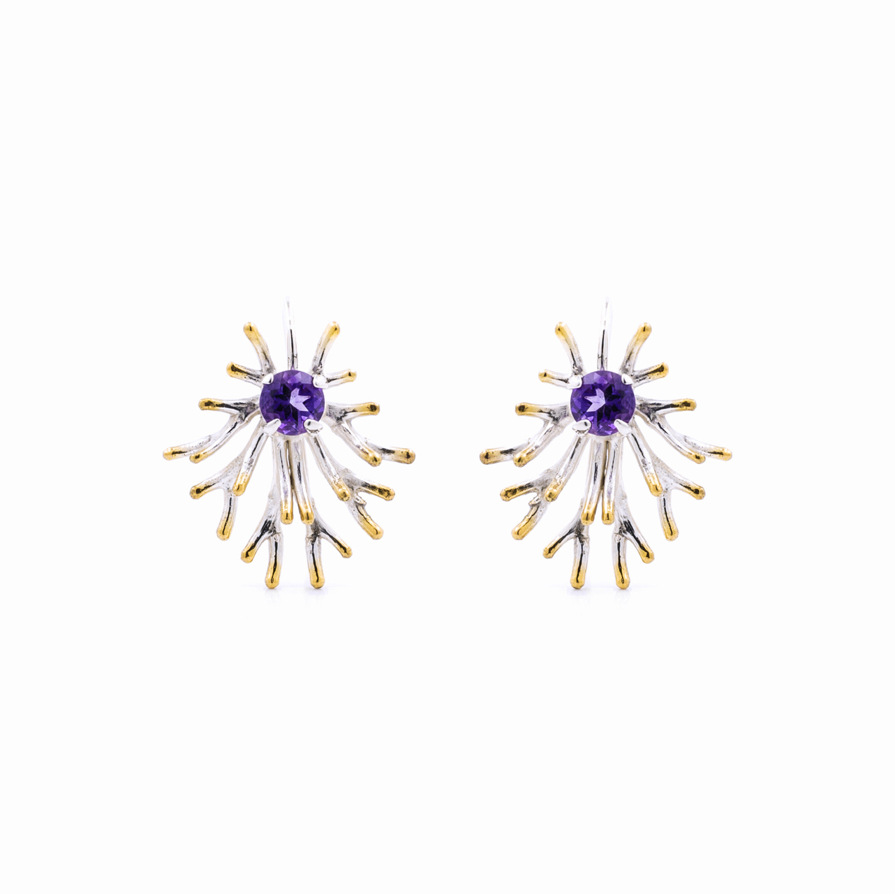 Astrocyte Earrings: Sterling silver, amethyst, gold vermeil