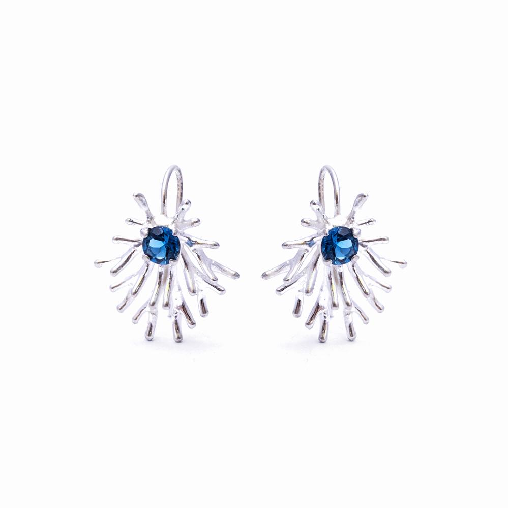 Astrocyte Earrings:  Sterling silver, topaz.