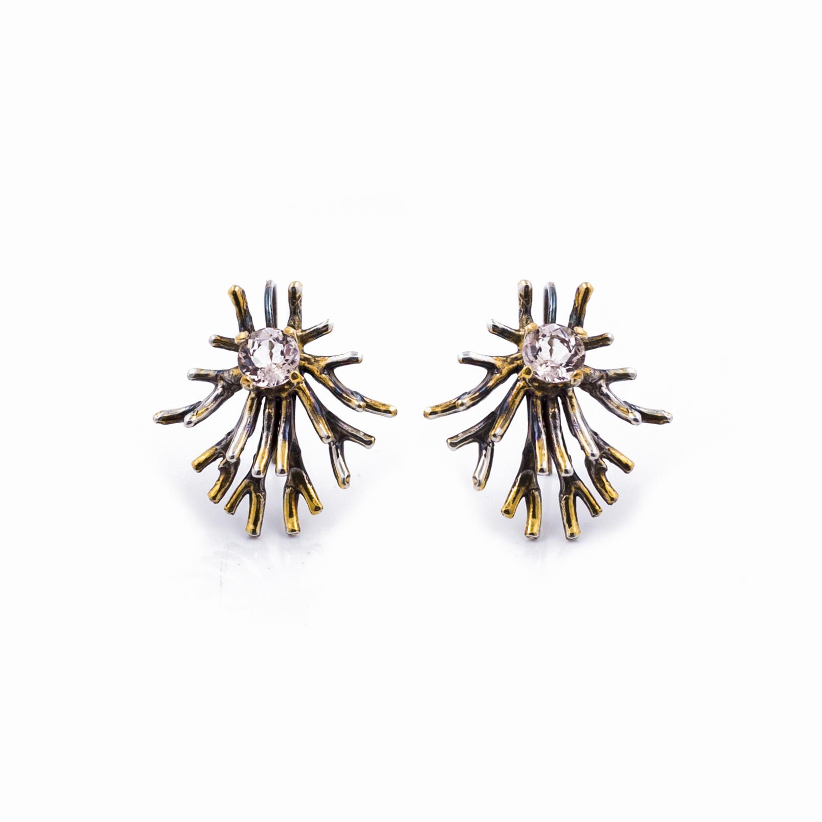 Astrocyte Earrings:  Sterling silver, morganite, gold vermeil, patina