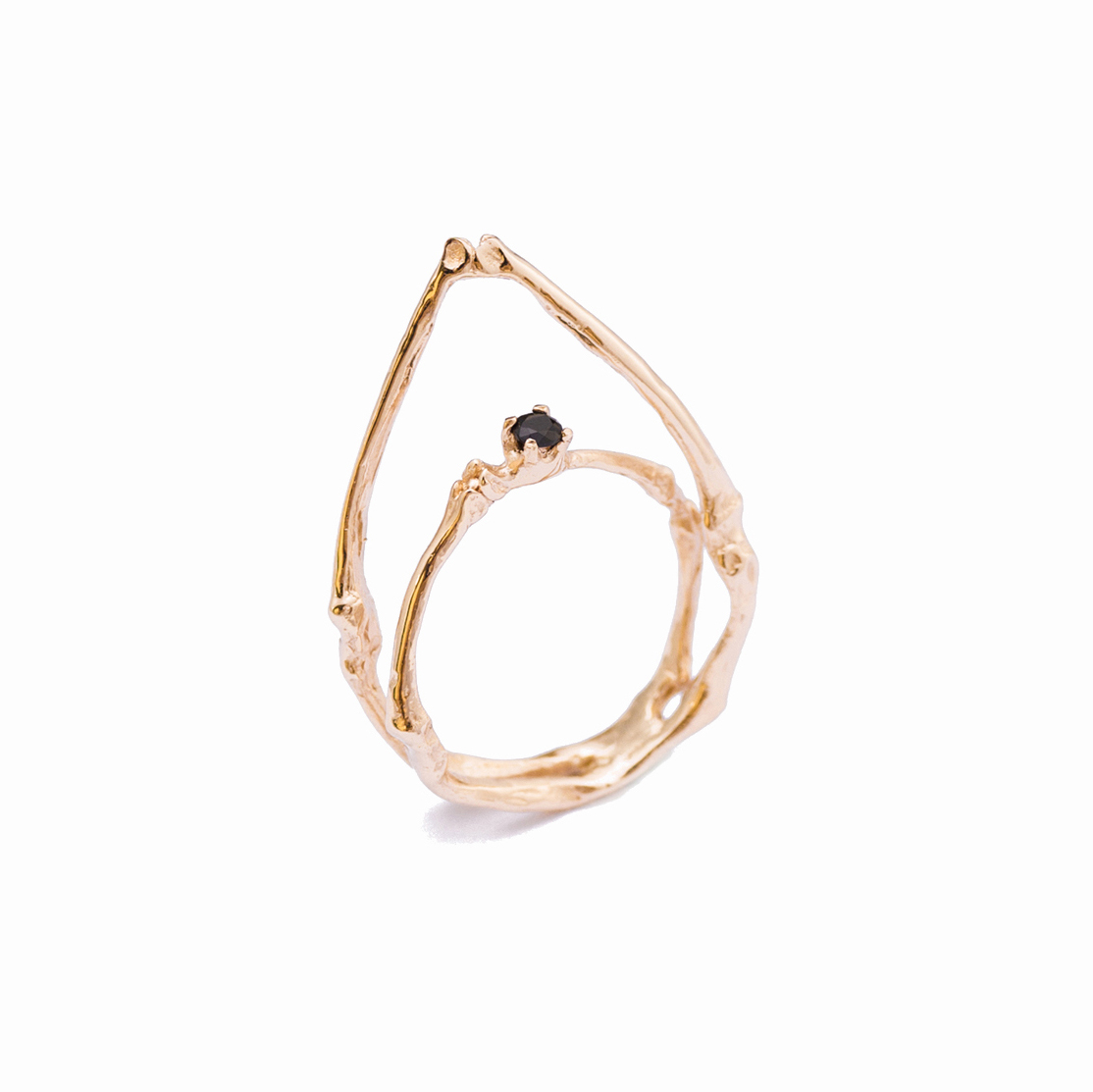 Towers Ring : rose gold, black diamond
