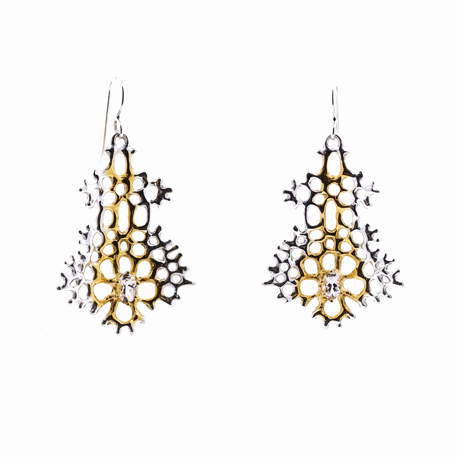 Radial Earrings : Sterling silver, morganite, gold vermeil