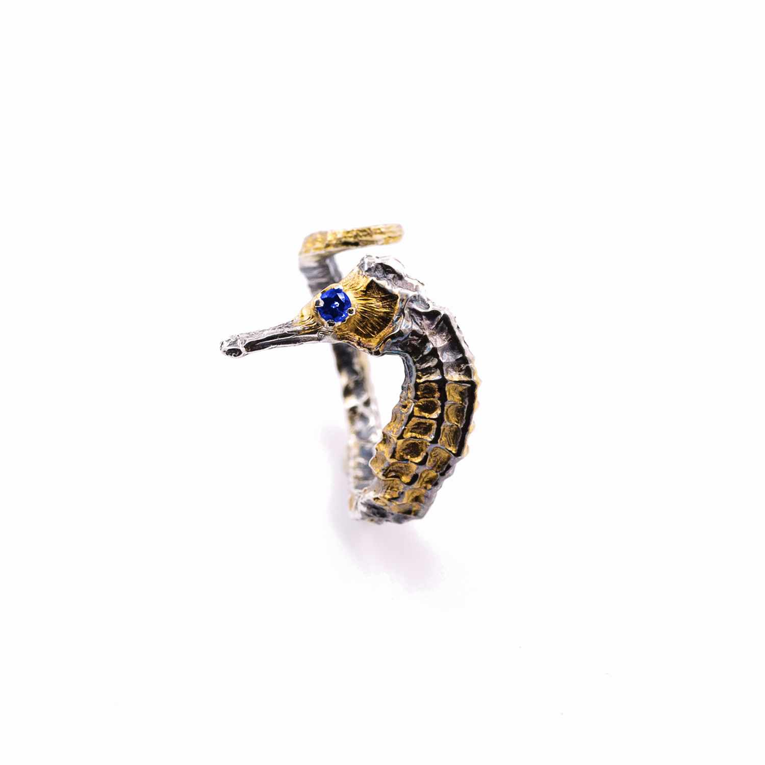 Seahorse RING  Sterling silver, blue sapphire, gold vermeil, patina