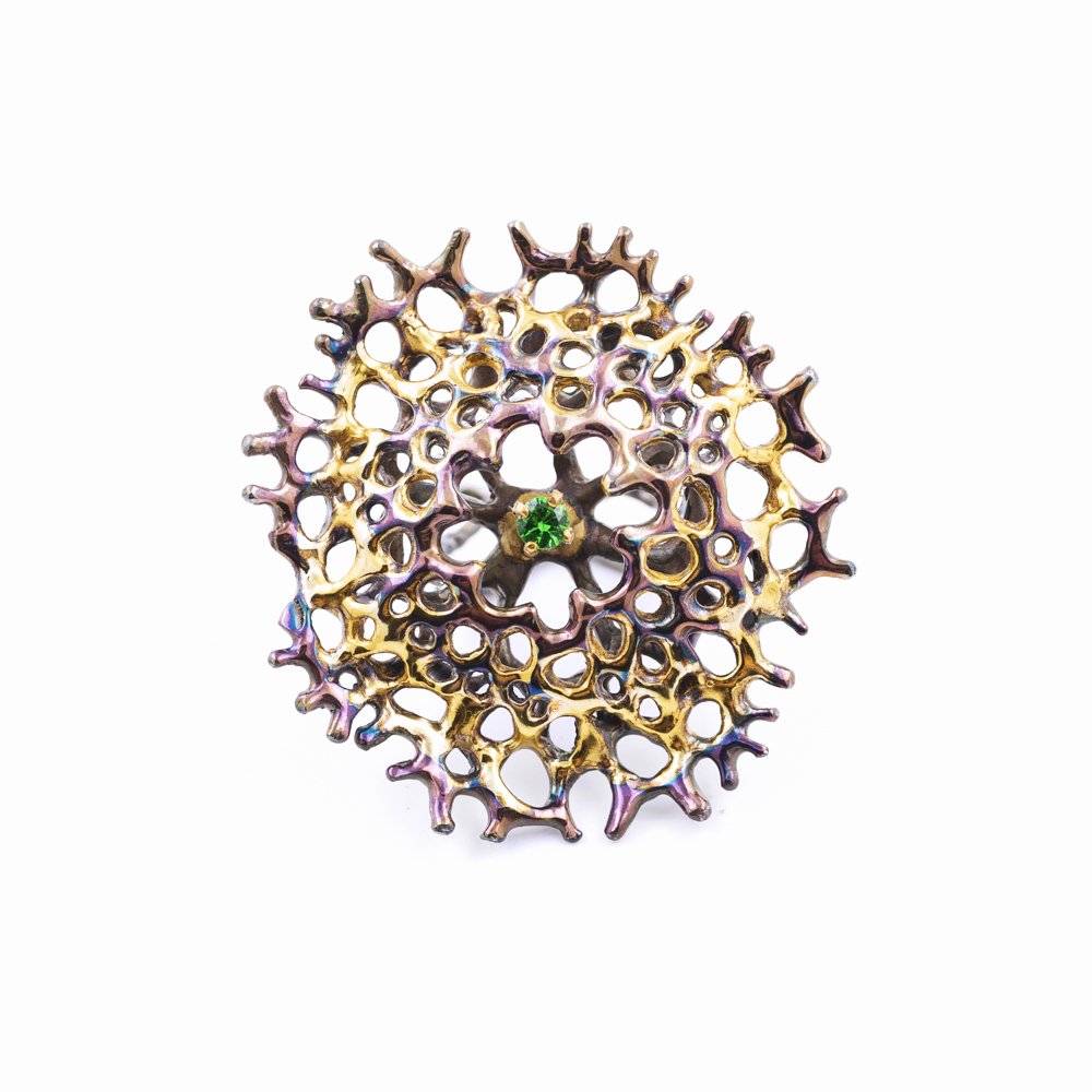 Enclosed Radial Ring : Sterling silver, tsavorite, gold vermeil, patina