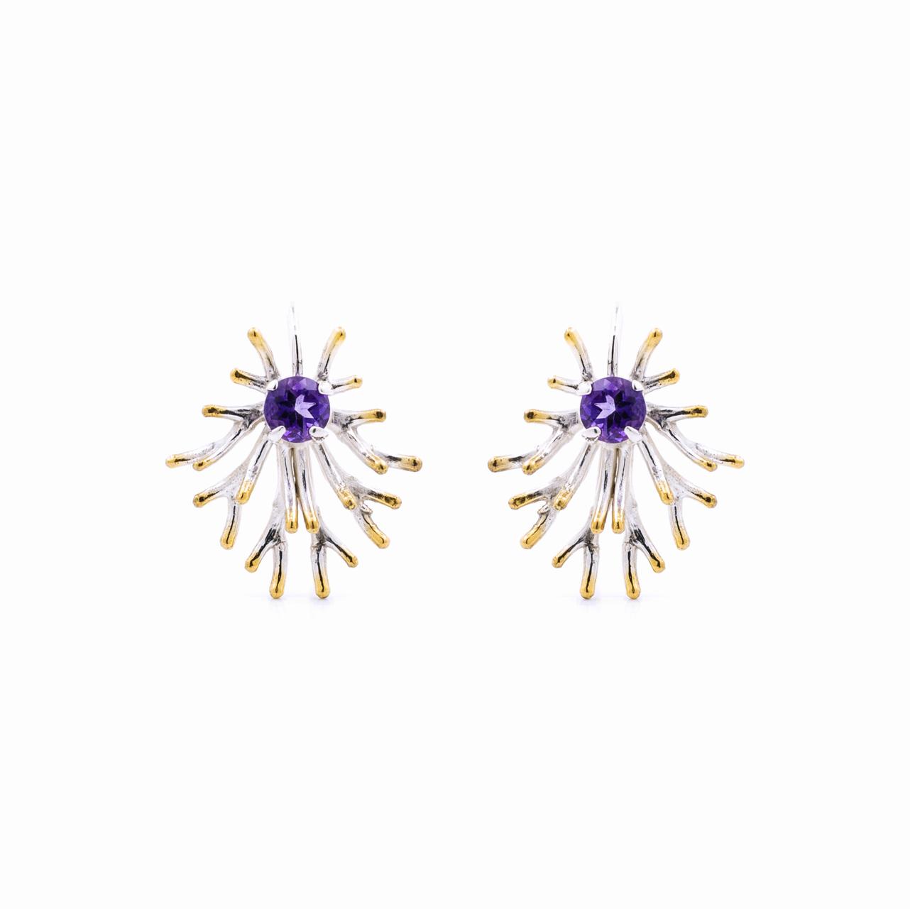 Astrocyte earrings, sterling silver, amethyst
