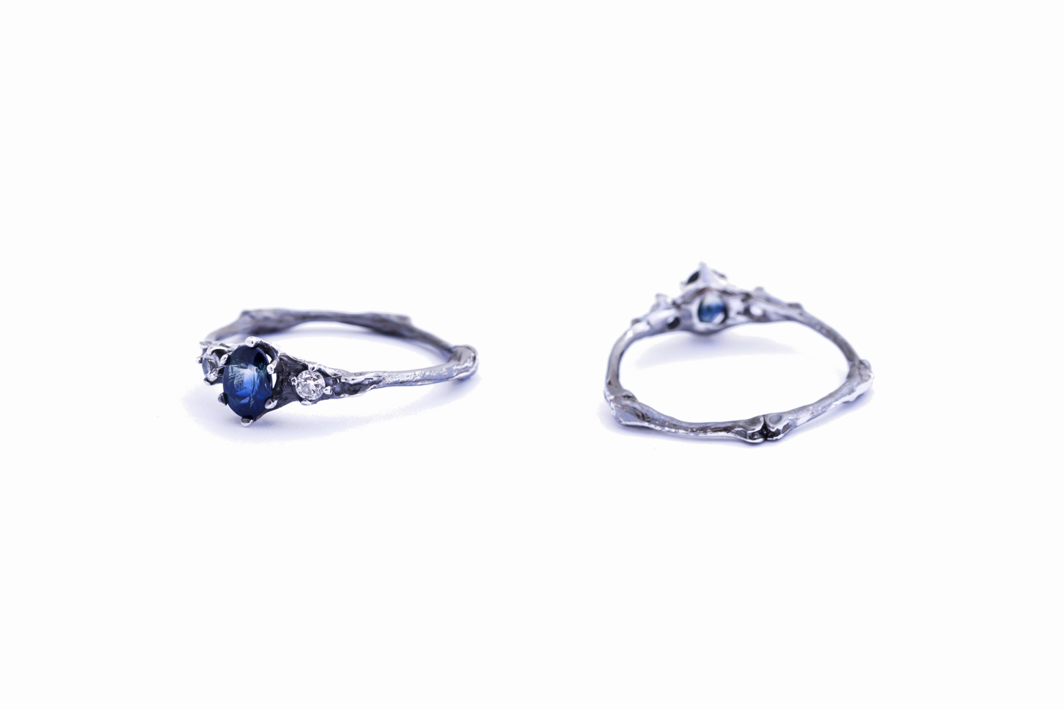 Towers ring // Sterling Silver, Parti Sapphire and Diamonds (2015)