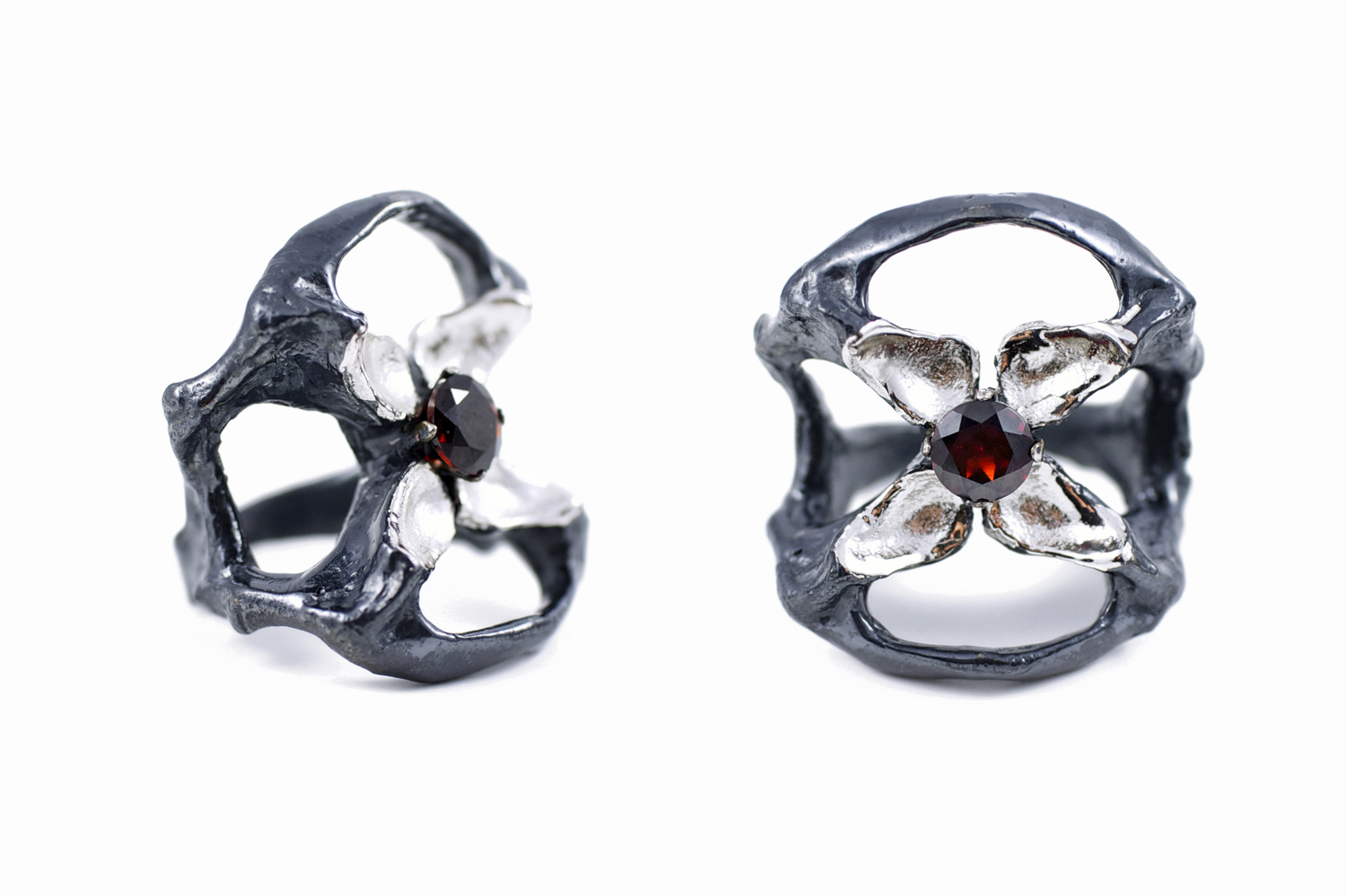 Unfolded Ring - The Flowers Remaining for  Greensmith Exhibition //solid Argentium Sterling Silver, Garnet (2014)