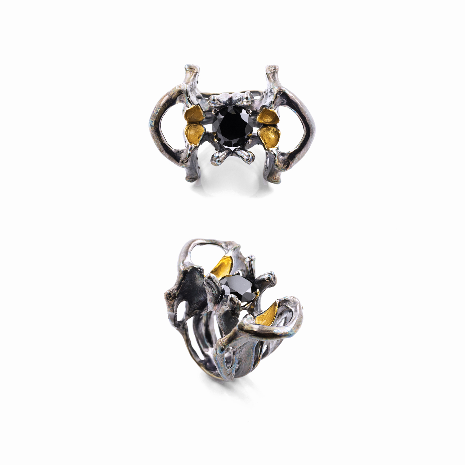 Large unfolding ring // Sterling silver, spinel, gold vermeil, patina