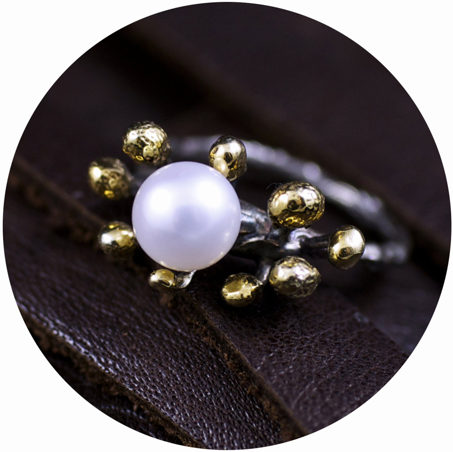 Tokyo September Ring  // Oxidised sterling silver, pearl and gold vermeil (2013)