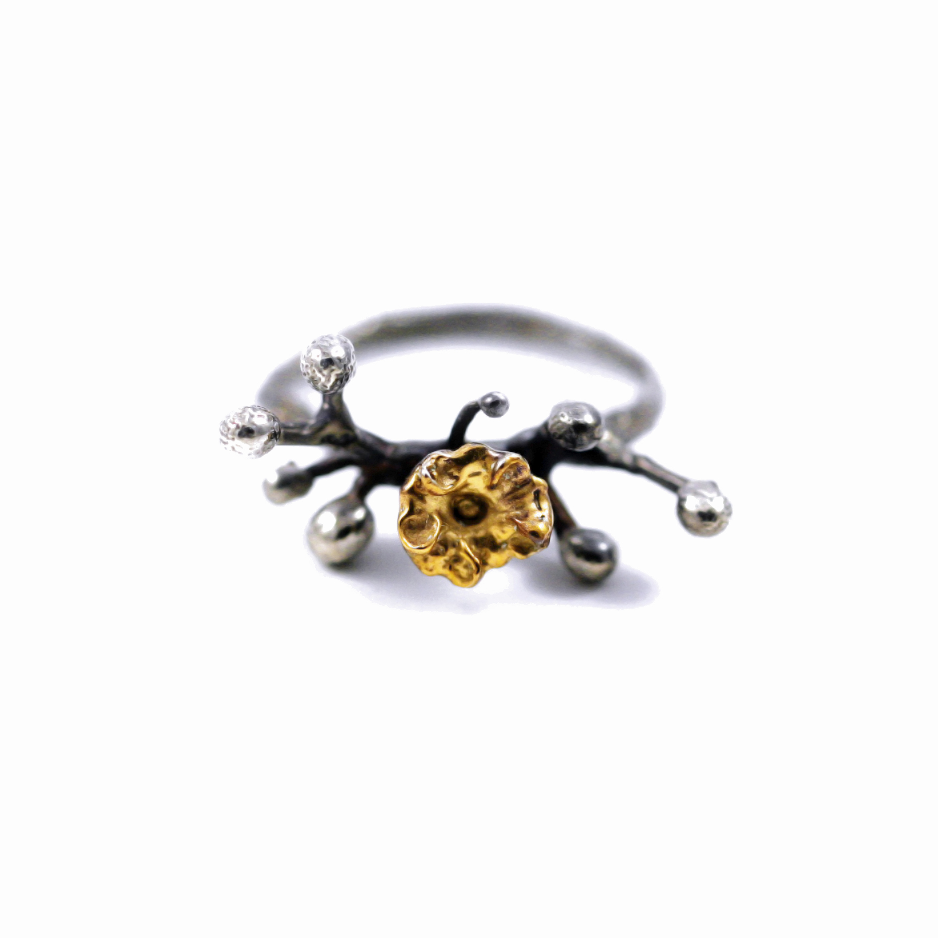 Tokyo April Ring // solid oxidised Argentium Sterling Silver, Palladium and Gold Vermeil (2013)