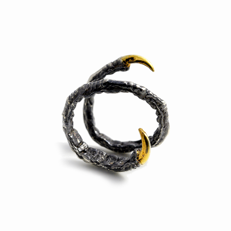 Twist Ring // oxidised solid Argentium Sterling Silver and Gold Vermeil (2013)