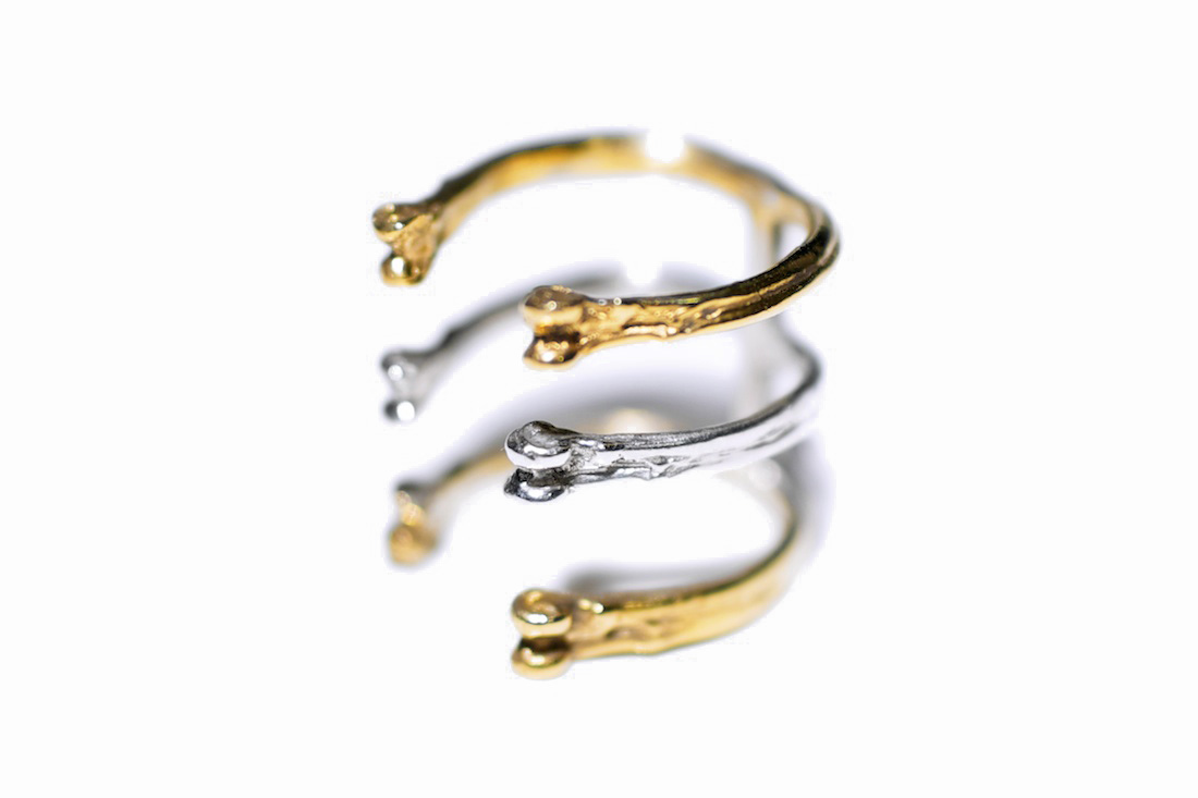 Gold Triple Ring  // solid Argentium Sterling Silver and Gold Vermeil (2013)