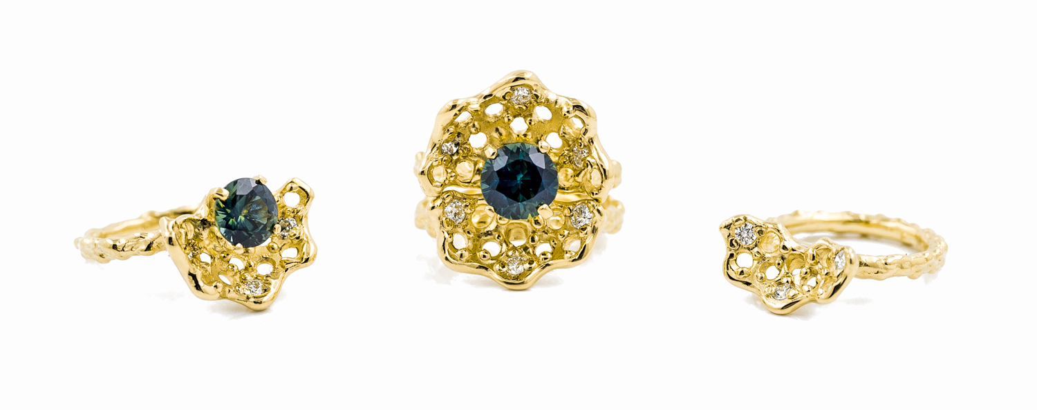 Beneath the Surface rings |  18ct yellow gold, Australian blue-green sapphire, brilliant white diamonds.