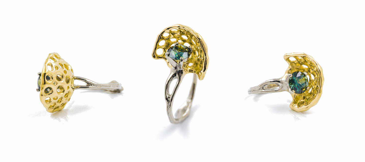 Veil ring:  1ct Australian parti sapphire, 18ct white gold and 18ct yellow gold.