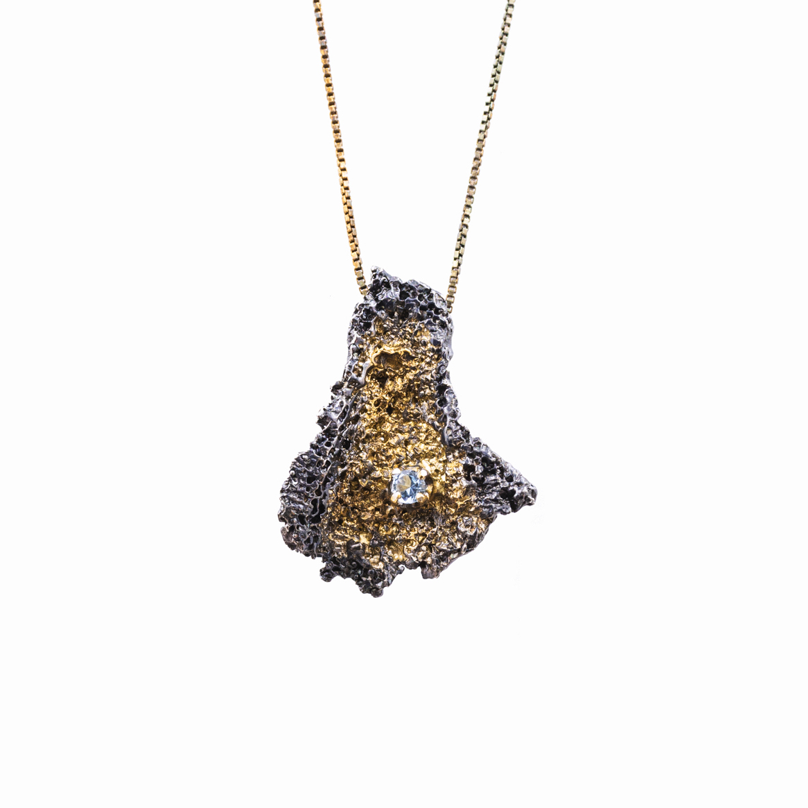 Graceful Inner Islands / Inner Island Pendant : Sterling silver, aquamarine, gold vermeil, patina