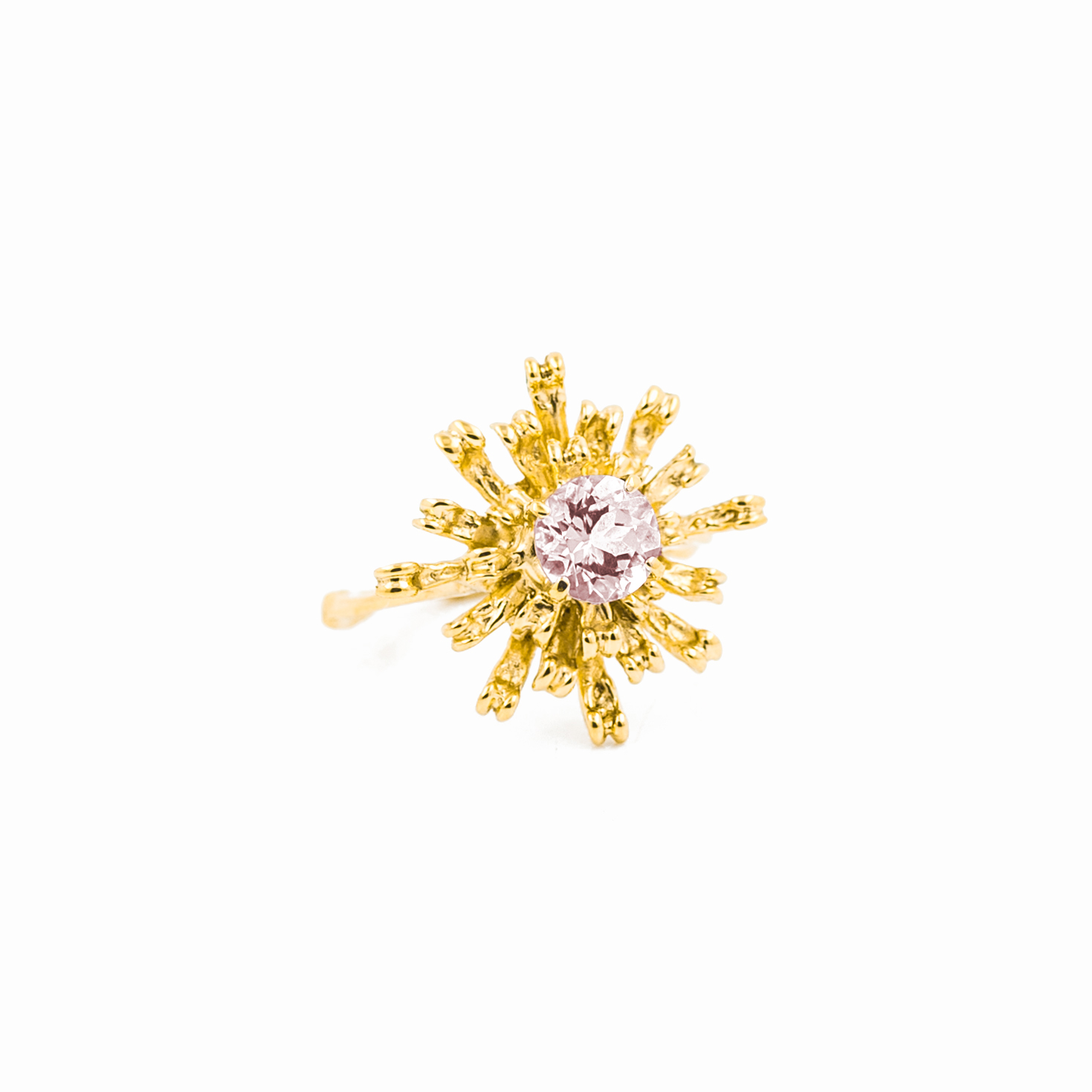 Flowers Remaining Ring : 18ct yellow gold, morganite