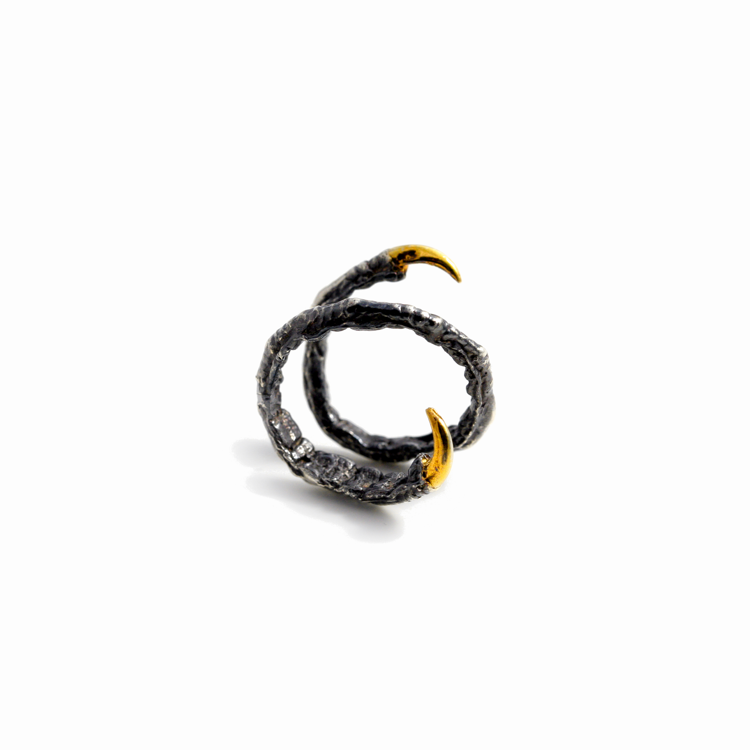 Twist Ring : Oxidised sterling silver, gold vermeil.