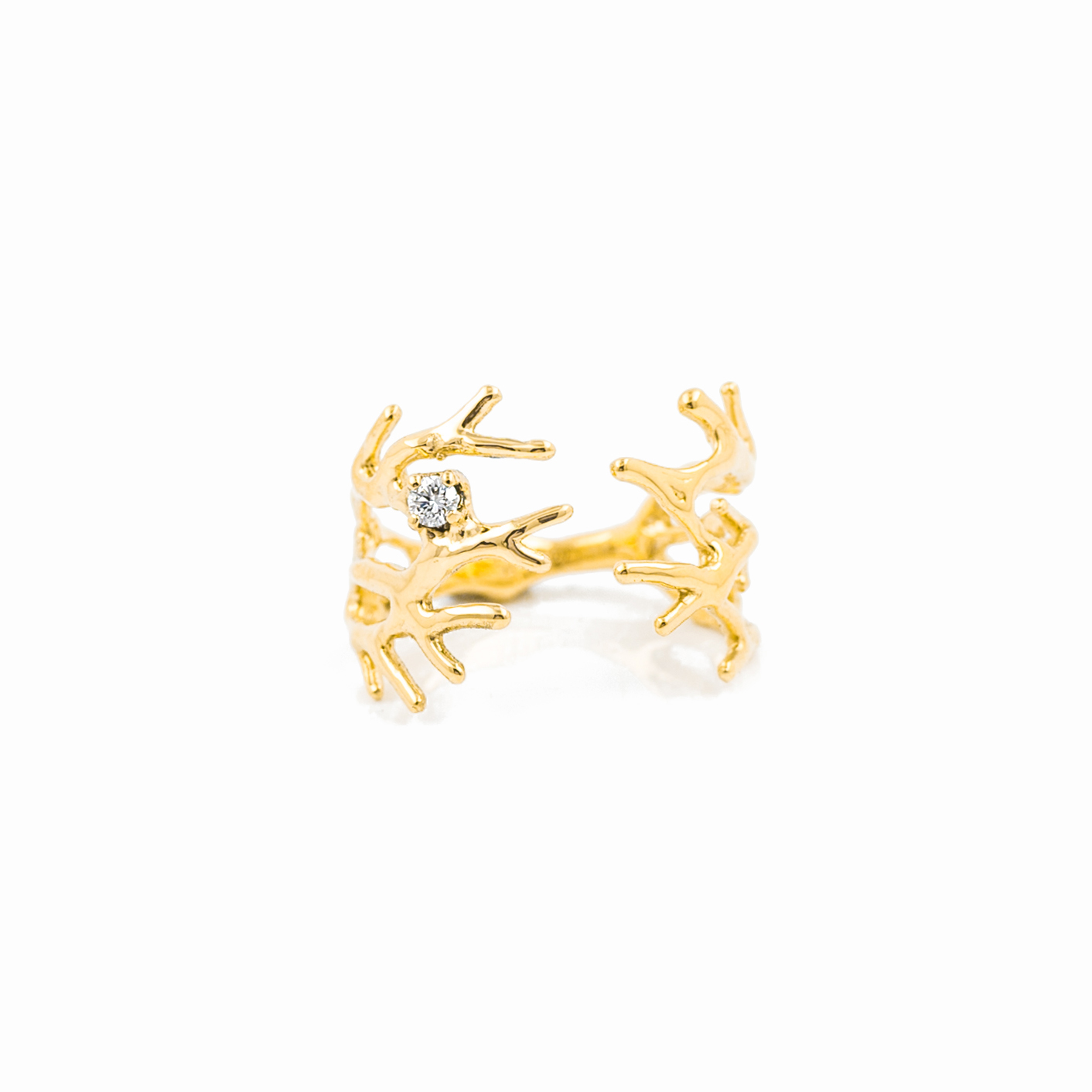 Dendrite Ring : 18ct yellow gold, brilliant white diamond