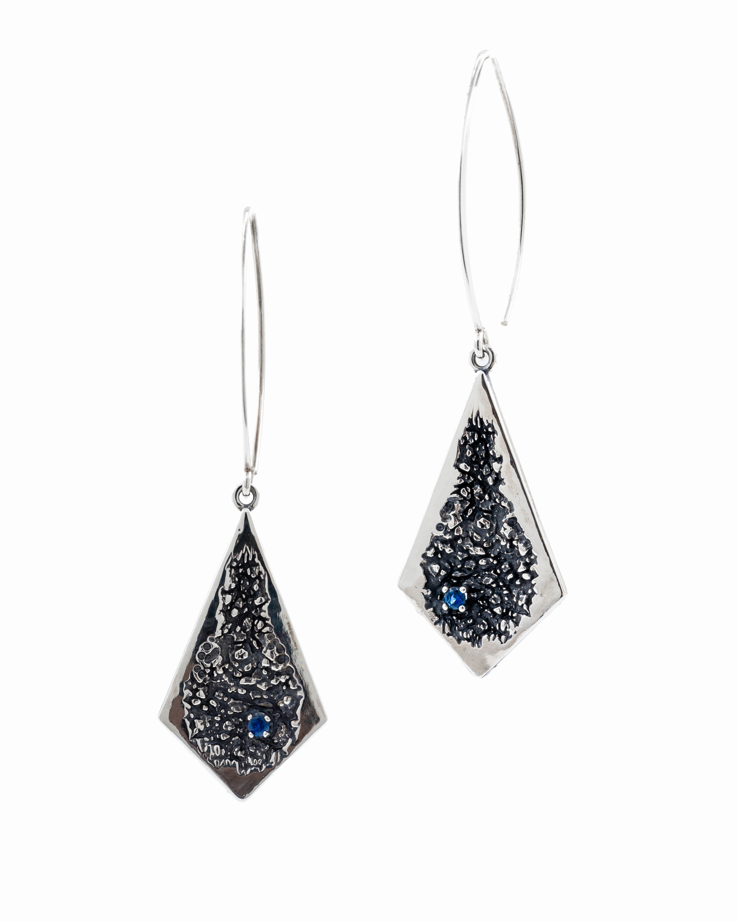 Absence Earrings : Sterling silver, Australian blue sapphire, patina.