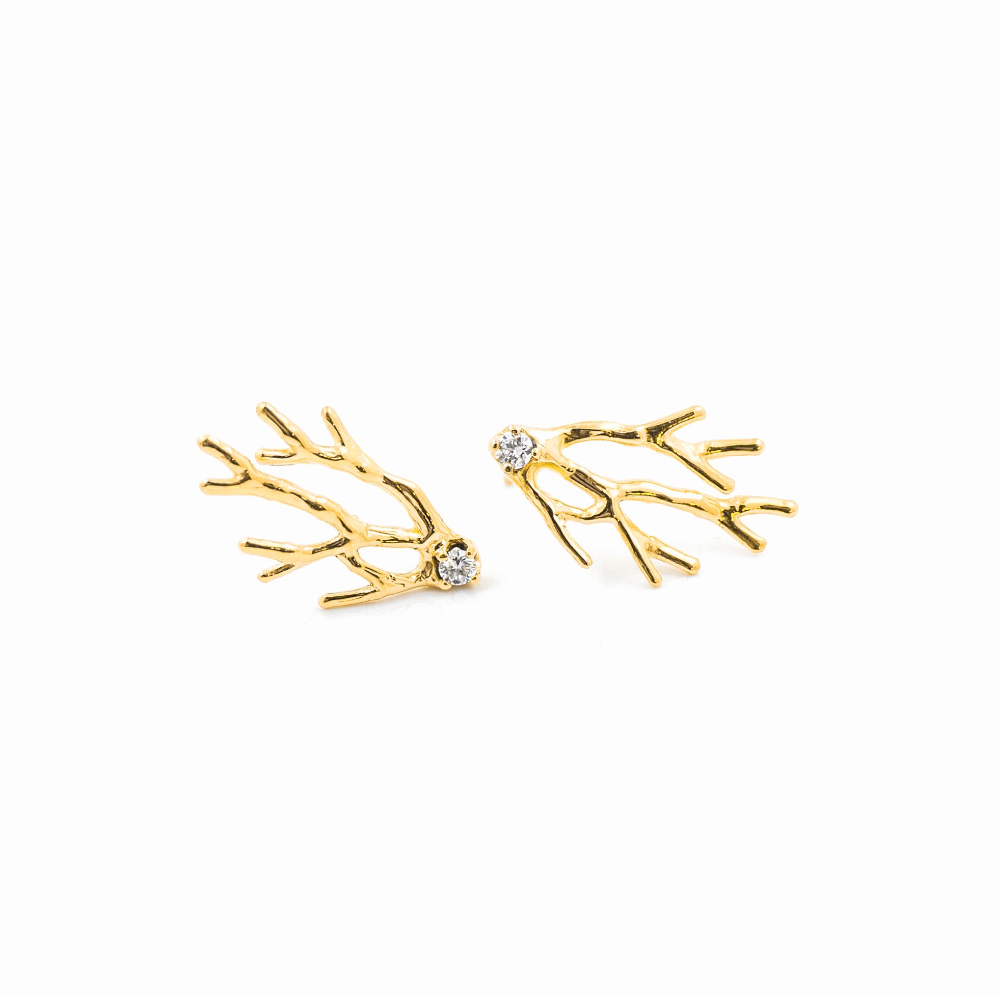 Dendrite Earrings: 18ct yellow gold, brilliant white diamonds