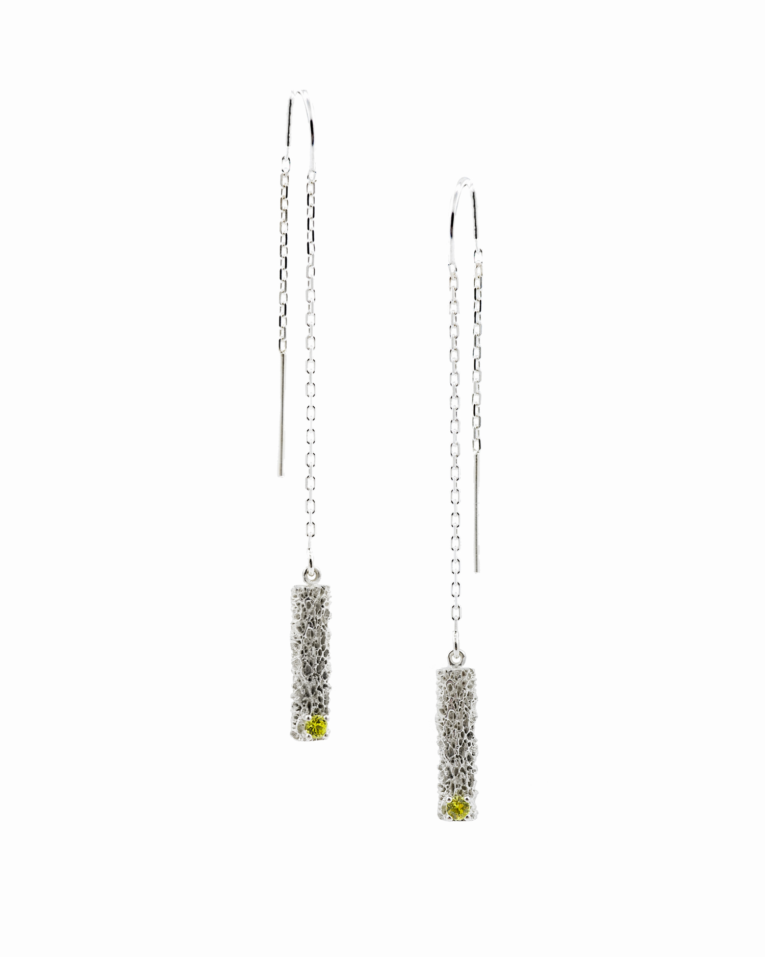 Threaded column earrings: sterling silver, yellow green Australian sapphire.