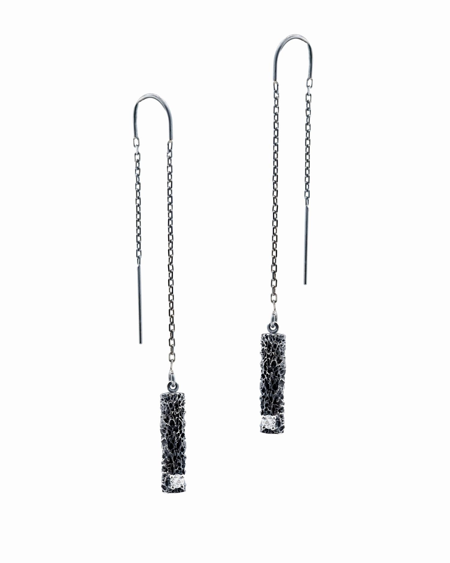 Threaded column earrings: Sterling silver, white diamonds.
