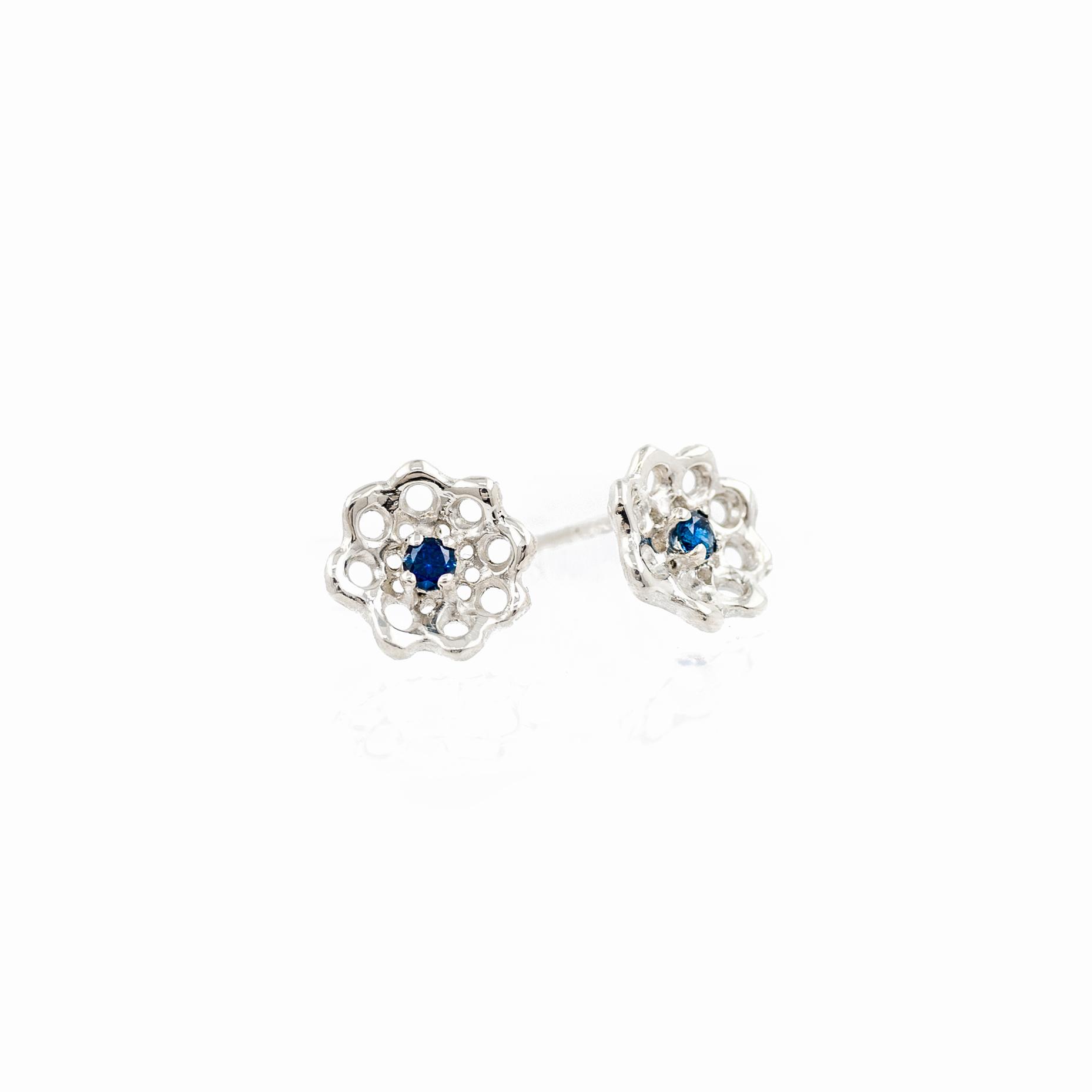 Silver Cusp Earrings: sterling silver, Australian blue sapphires.