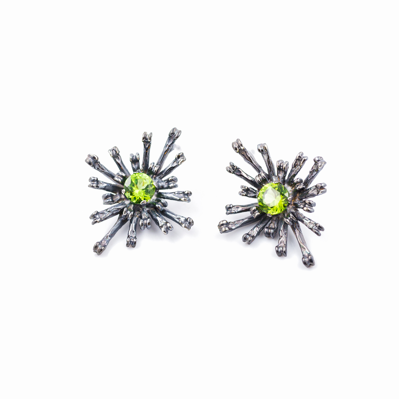 Flowers Remaining Earrings | Tall: Oxidised sterling silver, peridot.