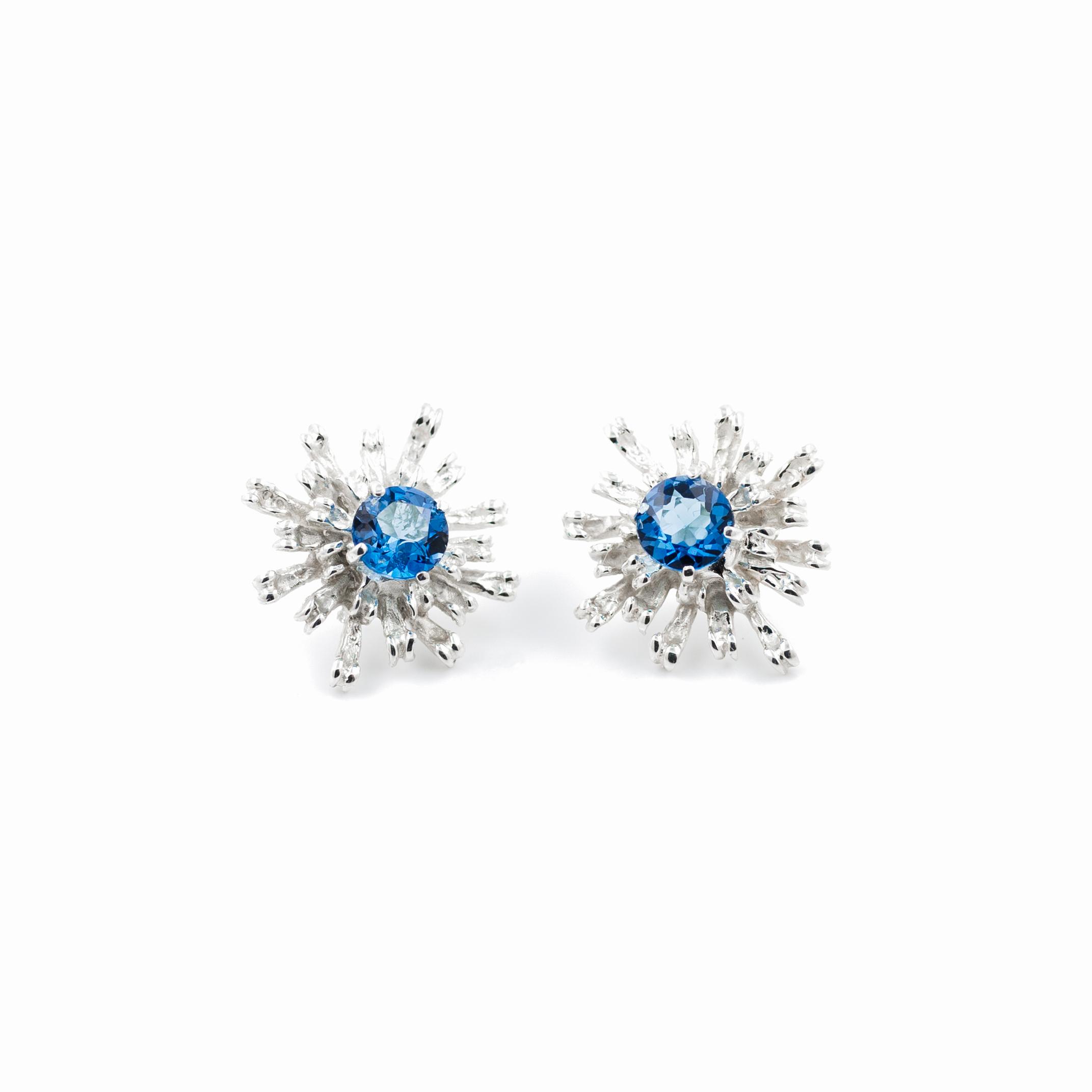 Flowers Remaining Earrings: Sterling silver, topaz.