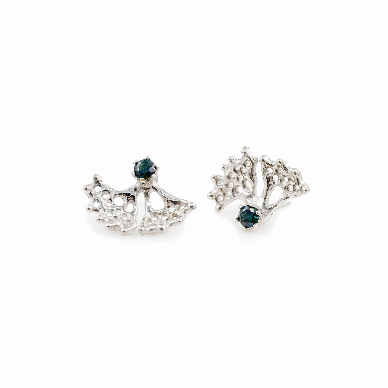 Fanned Earrings: Sterling silver, Australian blue sapphire.