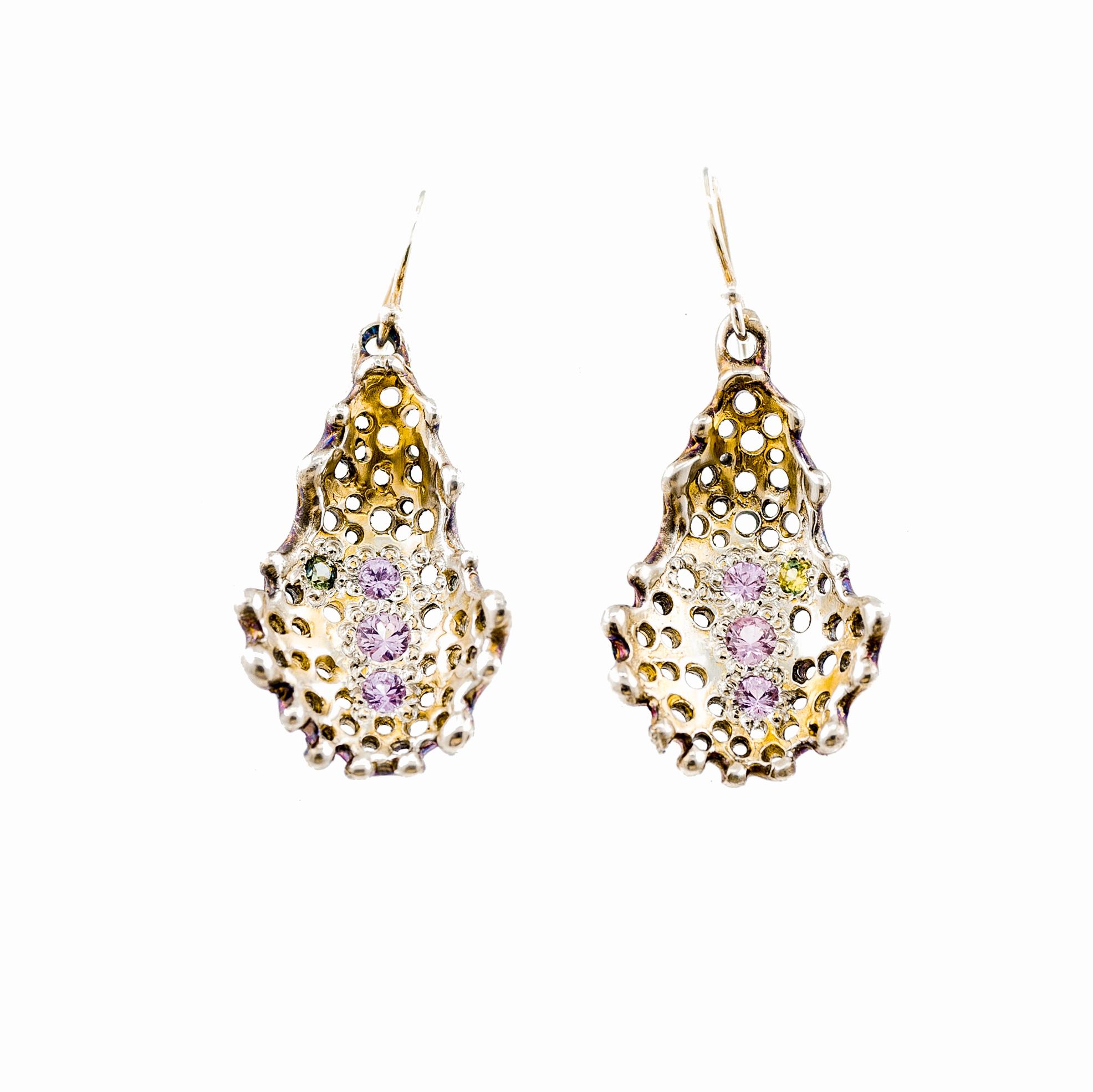 Medium Radial Earrings: Sterling silver, gold vermeil, pink sapphire, yellow-green Australian sapphire