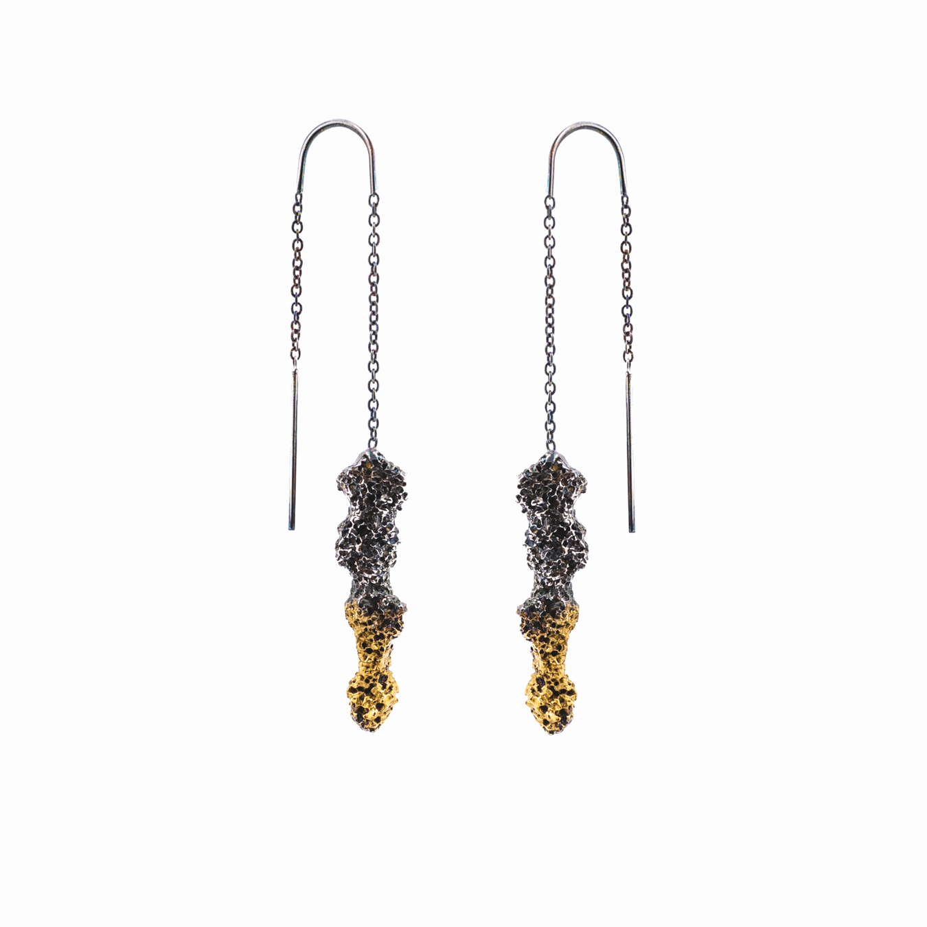 Spire Earrings: Sterling silver, gold vermeil, patina.