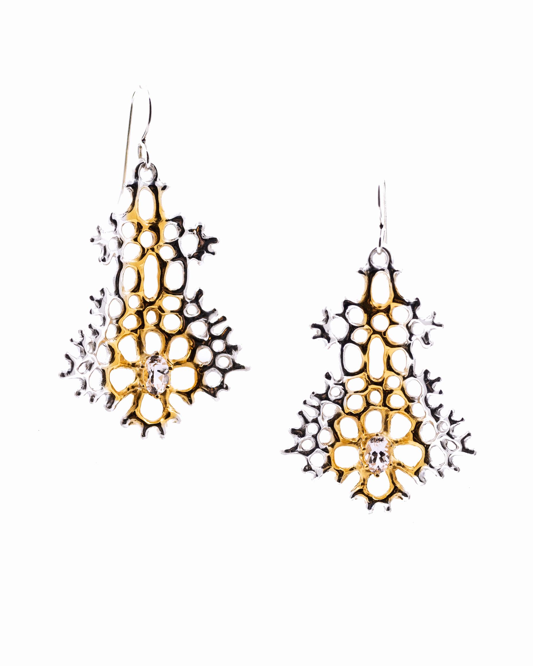 Large Radial Earrings: Sterling silver, morganite, gold vermeil.