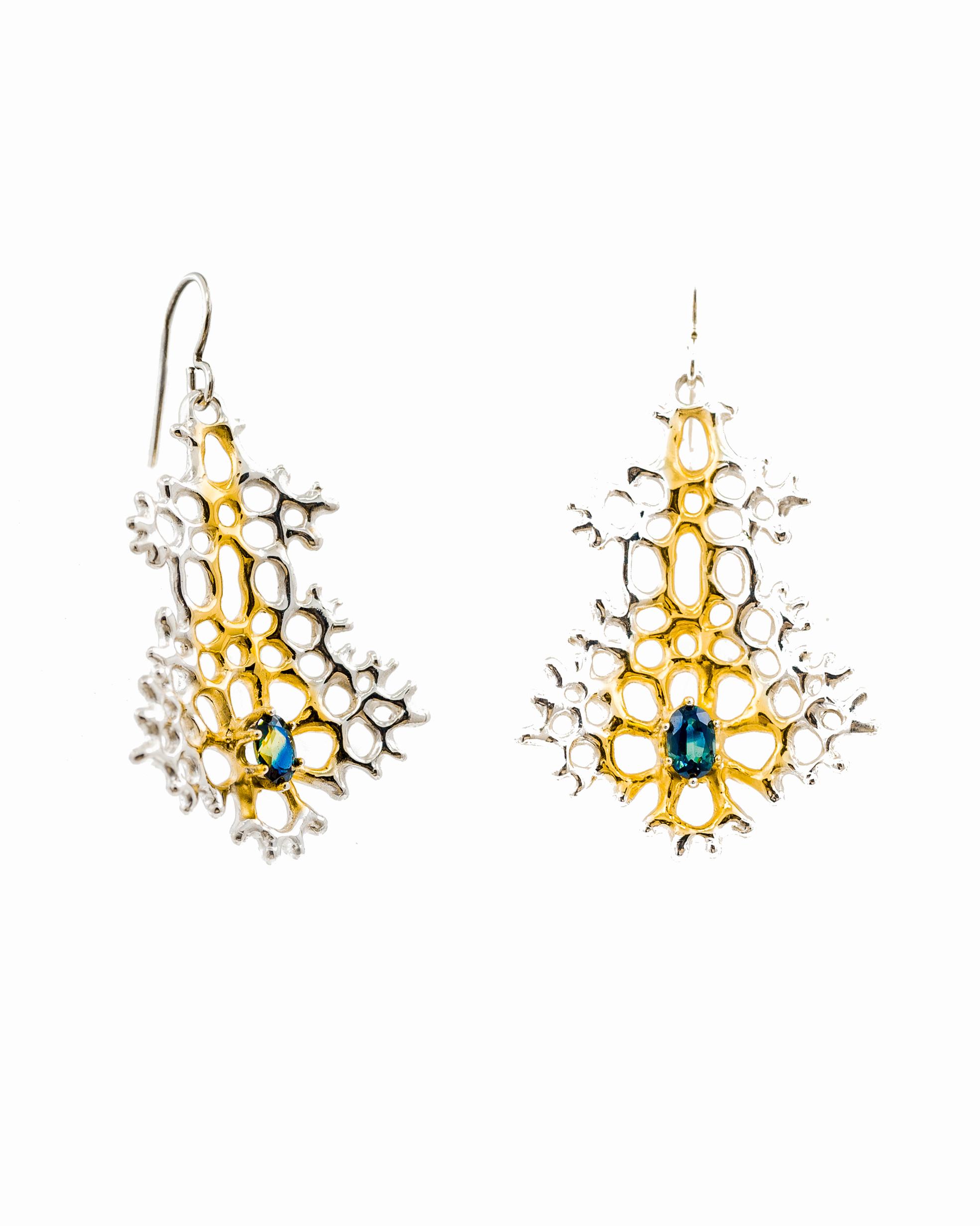 Large Radial Earrings: Sterling silver, gold vermeil, Australian blue sapphire