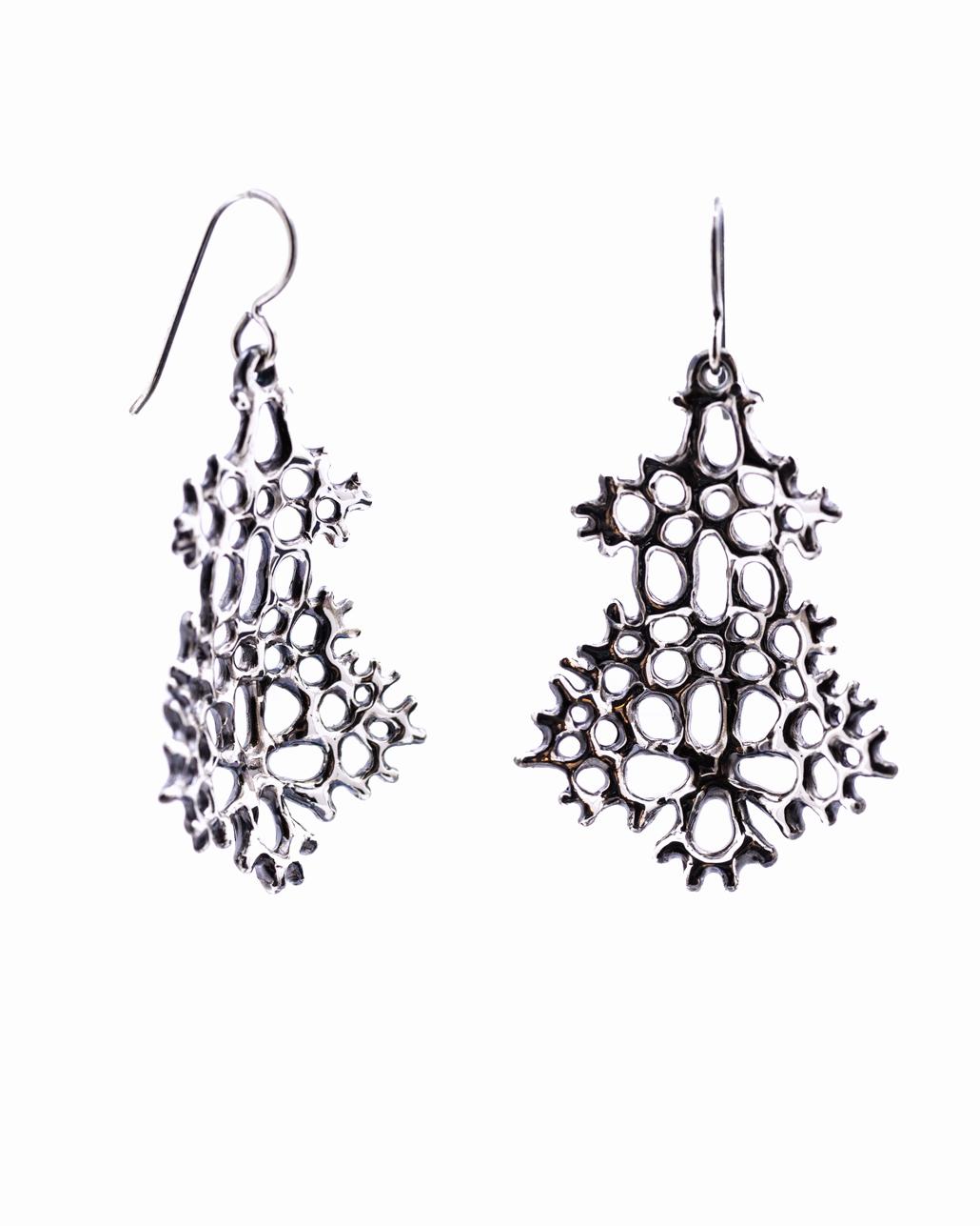 Large Radial Earrings: Oxidised sterling silver.